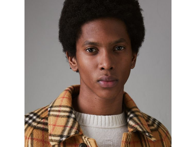 Vintage Check Alpaca Wool Car Coat in Antique Yellow - Men | Burberry - cell image 4