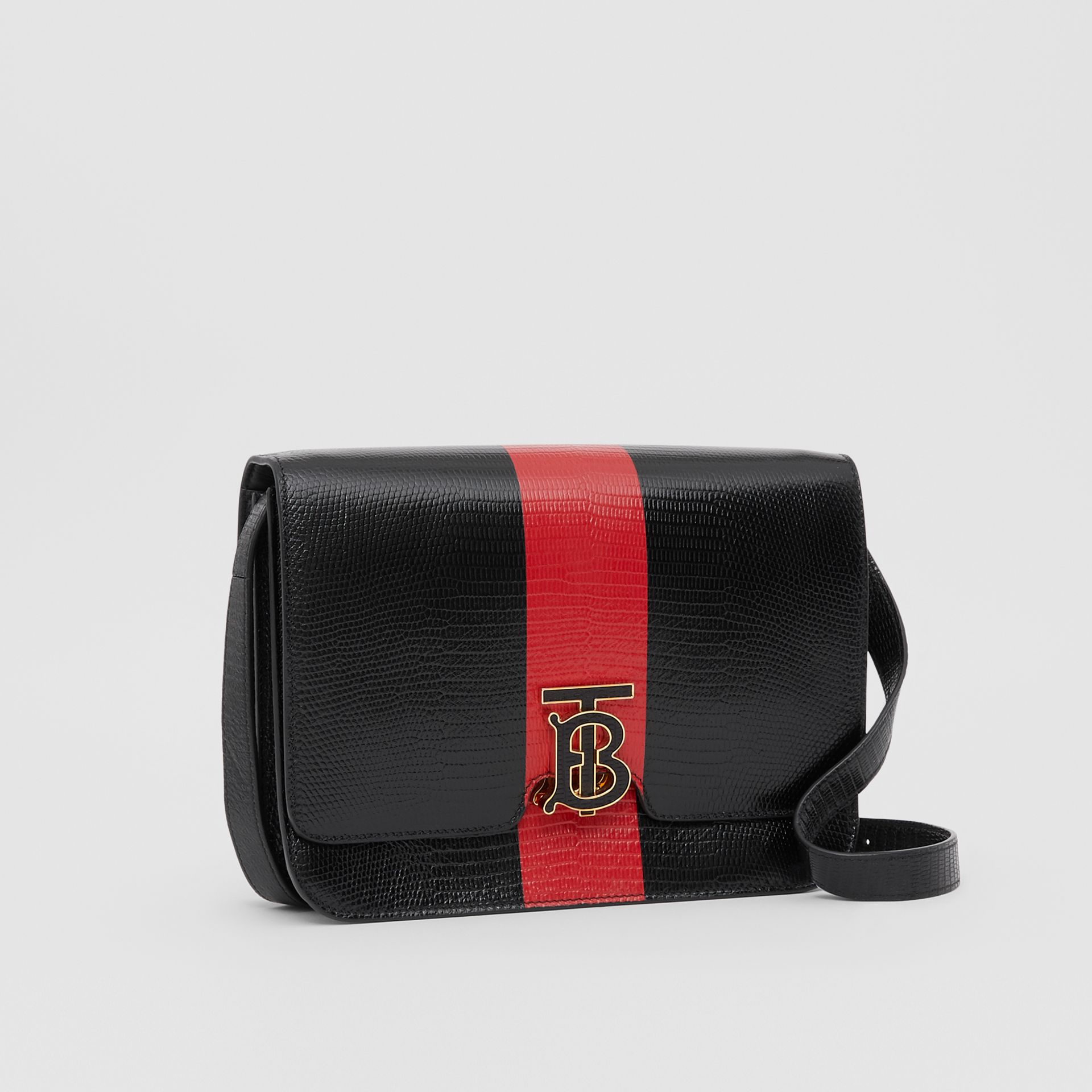 Medium Striped Embossed Leather TB Bag in Black - Women | Burberry United States - gallery image 6