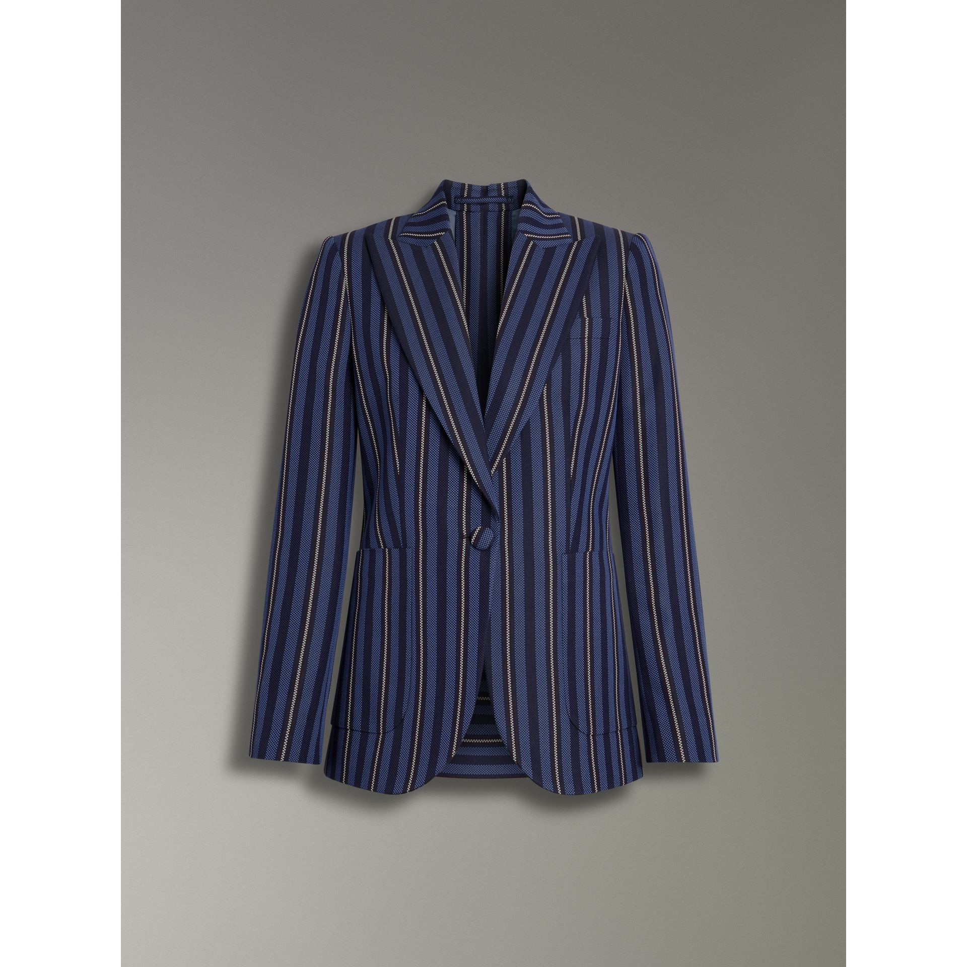 Collegiate Stripe Wool Blend Blazer in Navy/light Blue - Women | Burberry United Kingdom - gallery image 3