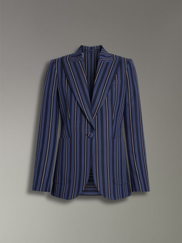 Collegiate Stripe Wool Blend Blazer in Navy/light Blue - Women | Burberry United Kingdom - cell image 3