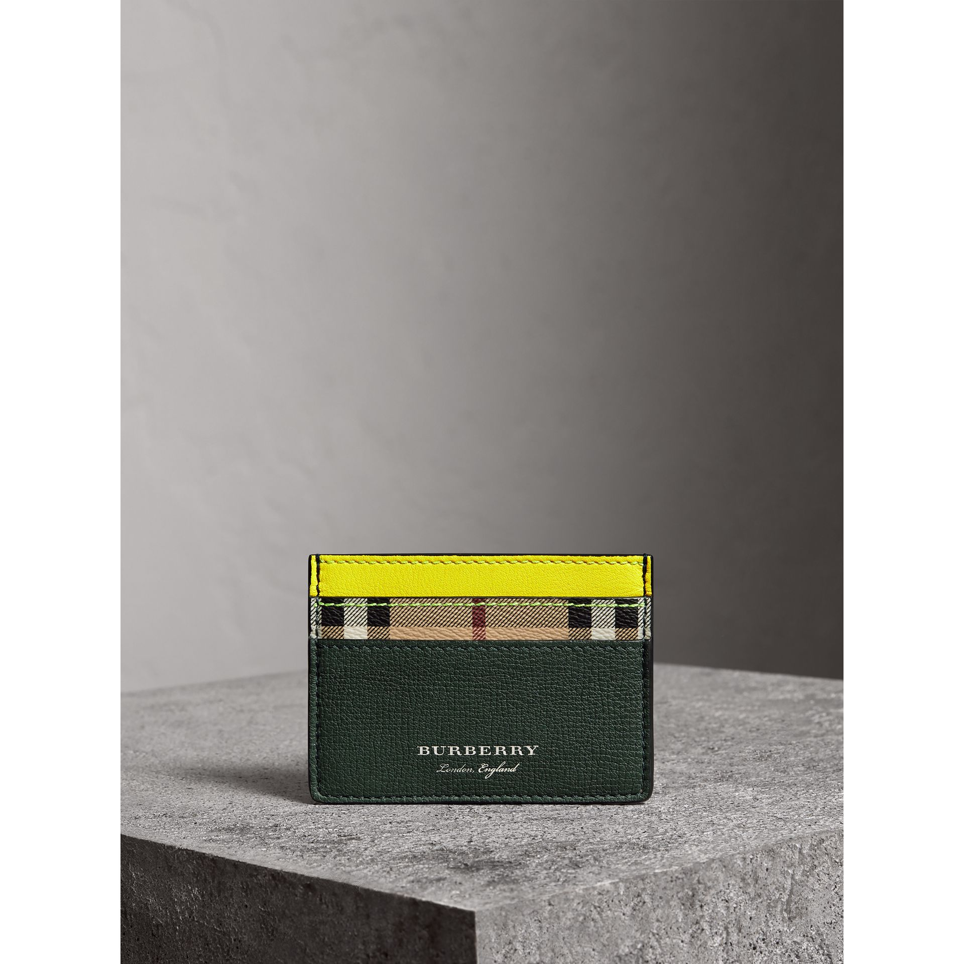 Haymarket Check and Two-tone Leather Card Case in Bright Yellow | Burberry - gallery image 3