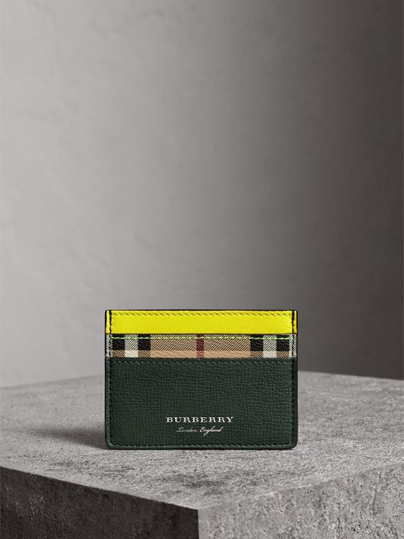 Haymarket Check and Two-tone Leather Card Case in Bright Yellow - Men | Burberry - cell image 3