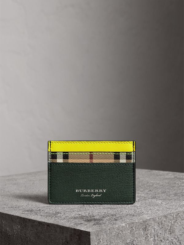 Haymarket Check and Two-tone Leather Card Case in Bright Yellow | Burberry - cell image 3