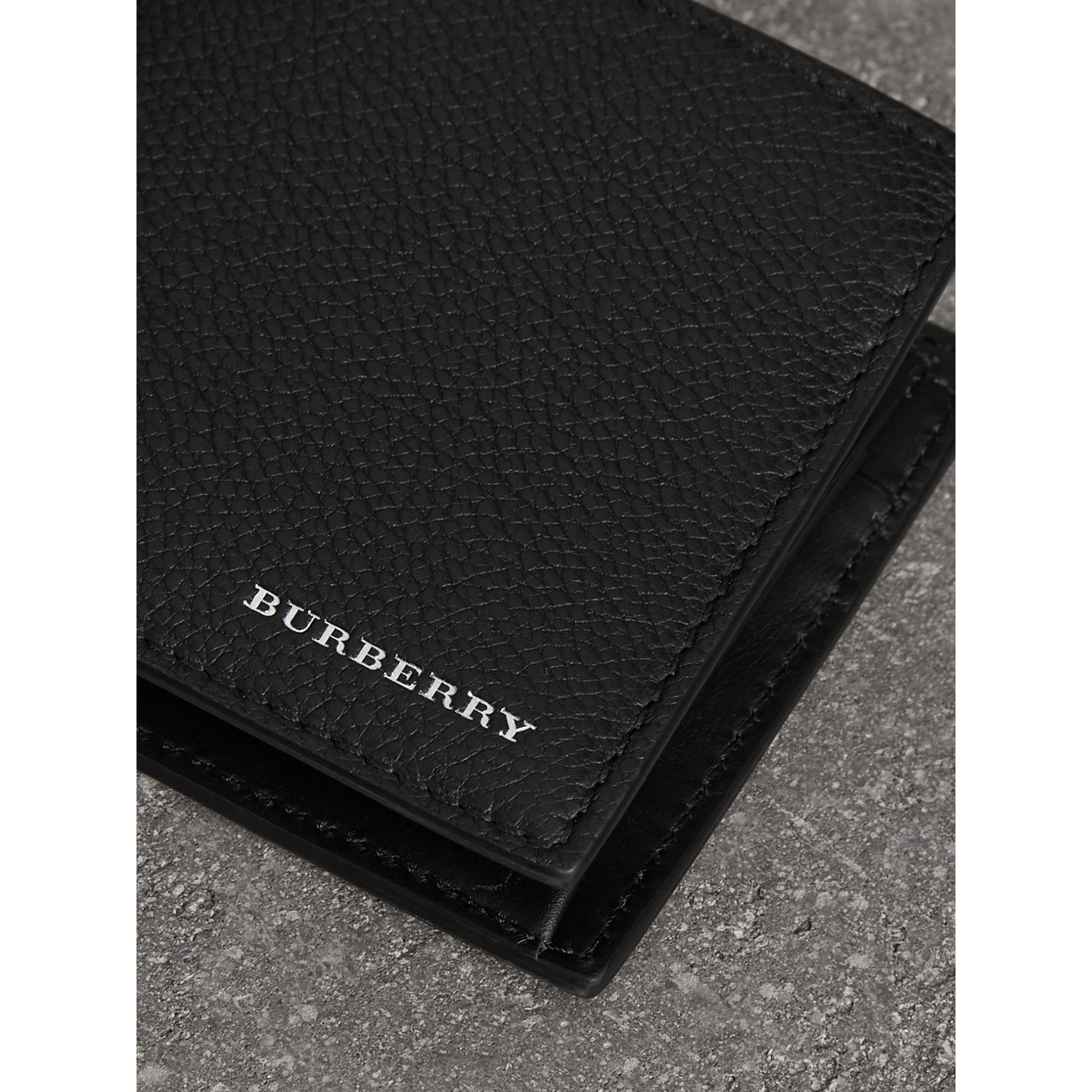 Grainy Leather International Bifold Coin Wallet in Black - Men | Burberry - gallery image 1