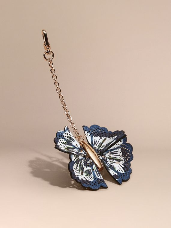 Tie-dye Print Leather Butterfly Charm Deep Cerulian Blue/briliant Navy