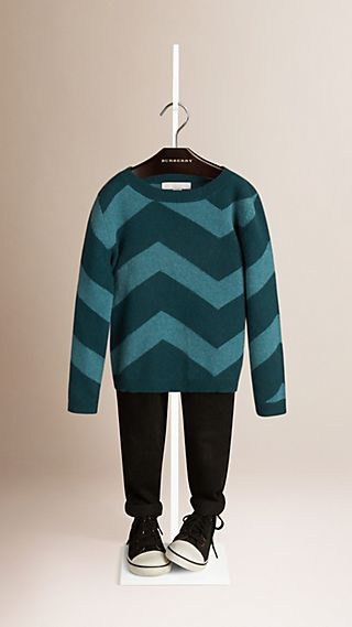Zigzag Pattern Cashmere Sweater