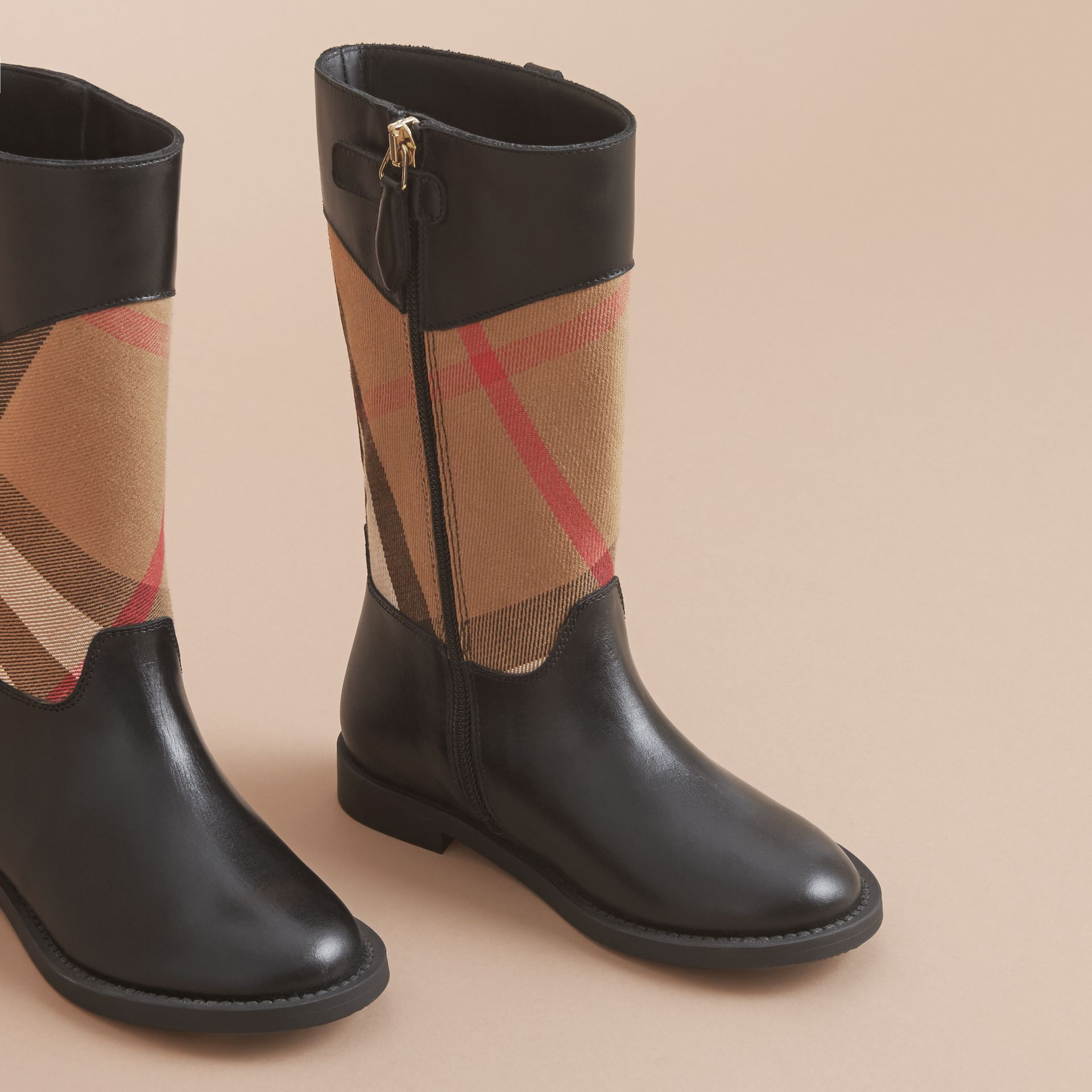 House Check and Leather Boots in Hc / Black | Burberry - gallery image 3