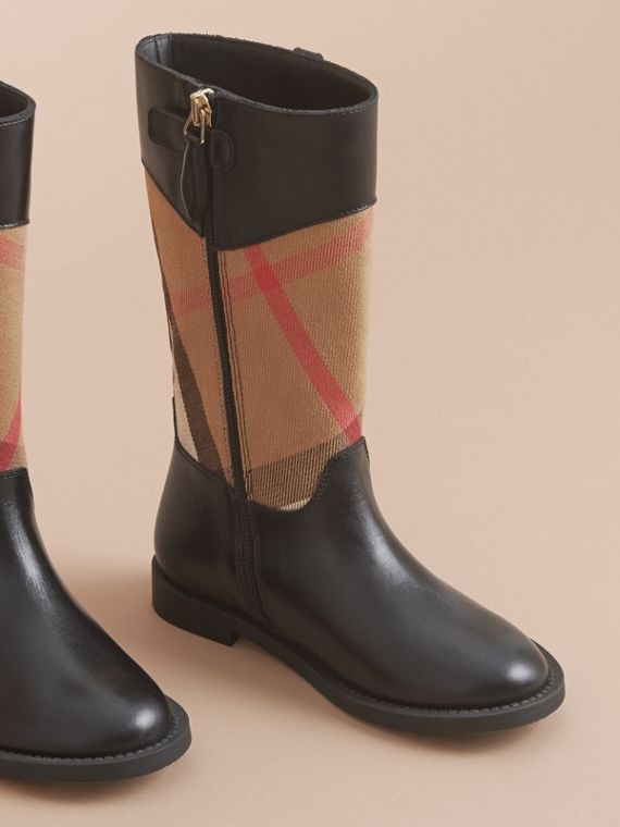 House Check and Leather Boots in Hc / Black | Burberry - cell image 2