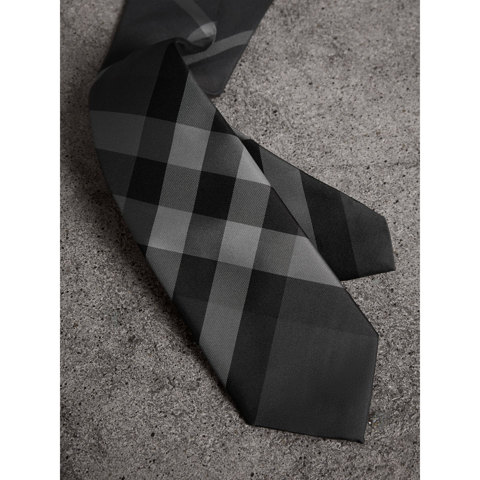 Modern Cut Check Silk Twill Tie in Charcoal - Men | Burberry - gallery image 1