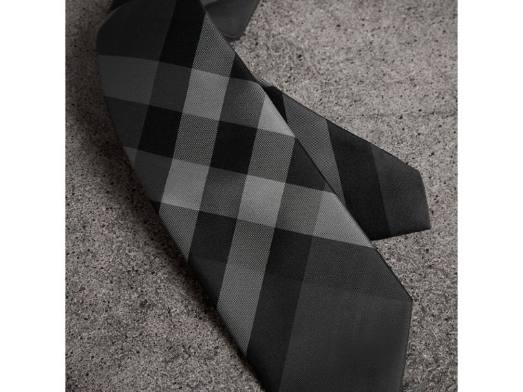 Modern Cut Check Silk Twill Tie in Charcoal - Men | Burberry United Kingdom - cell image 1