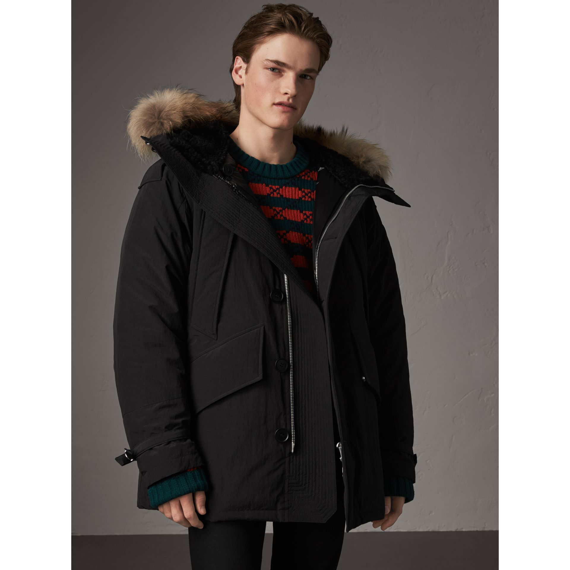 Raccoon Fur Trim Shearling Hood Down-filled Parka in Black - Men | Burberry Canada - gallery image 5