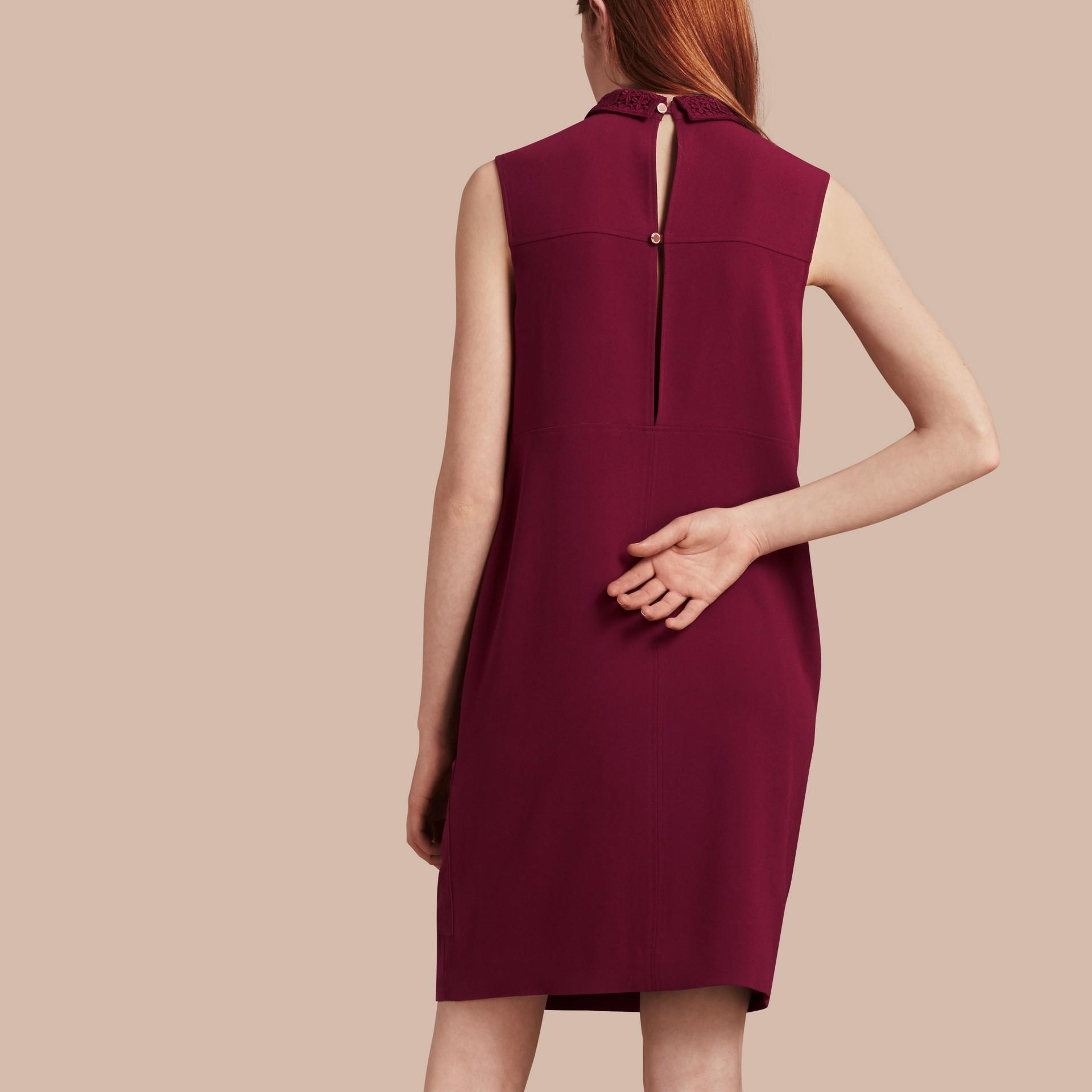 Dark crimson Sleeveless Lace Collar Dress - gallery image 3
