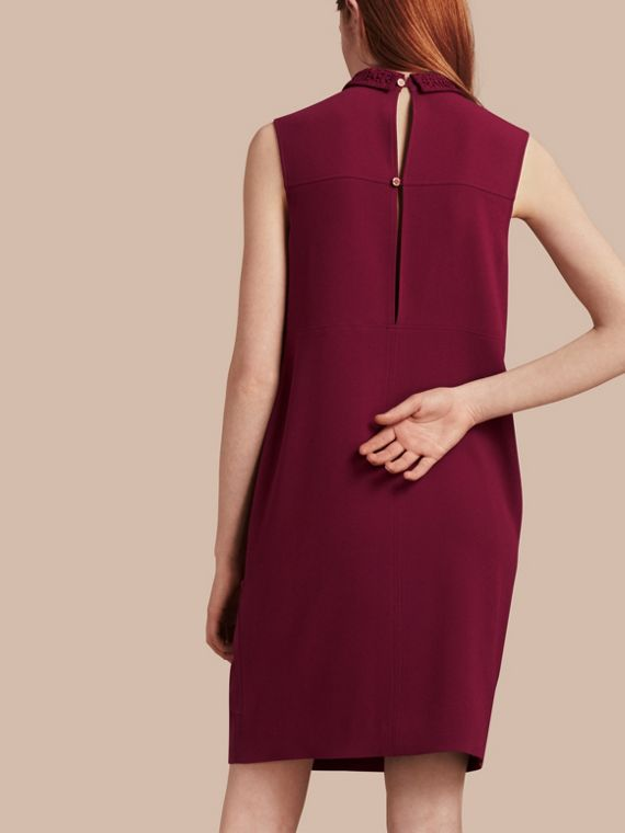 Dark crimson Sleeveless Lace Collar Dress - cell image 2