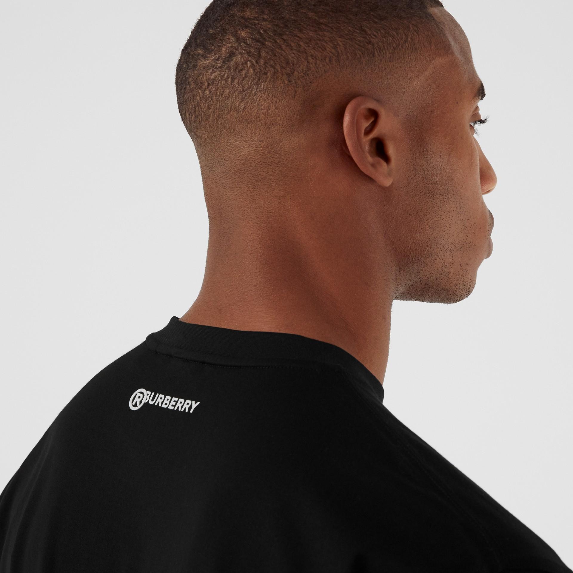Love Slogan Cotton Oversized T-shirt in Black - Men | Burberry United Kingdom - gallery image 4