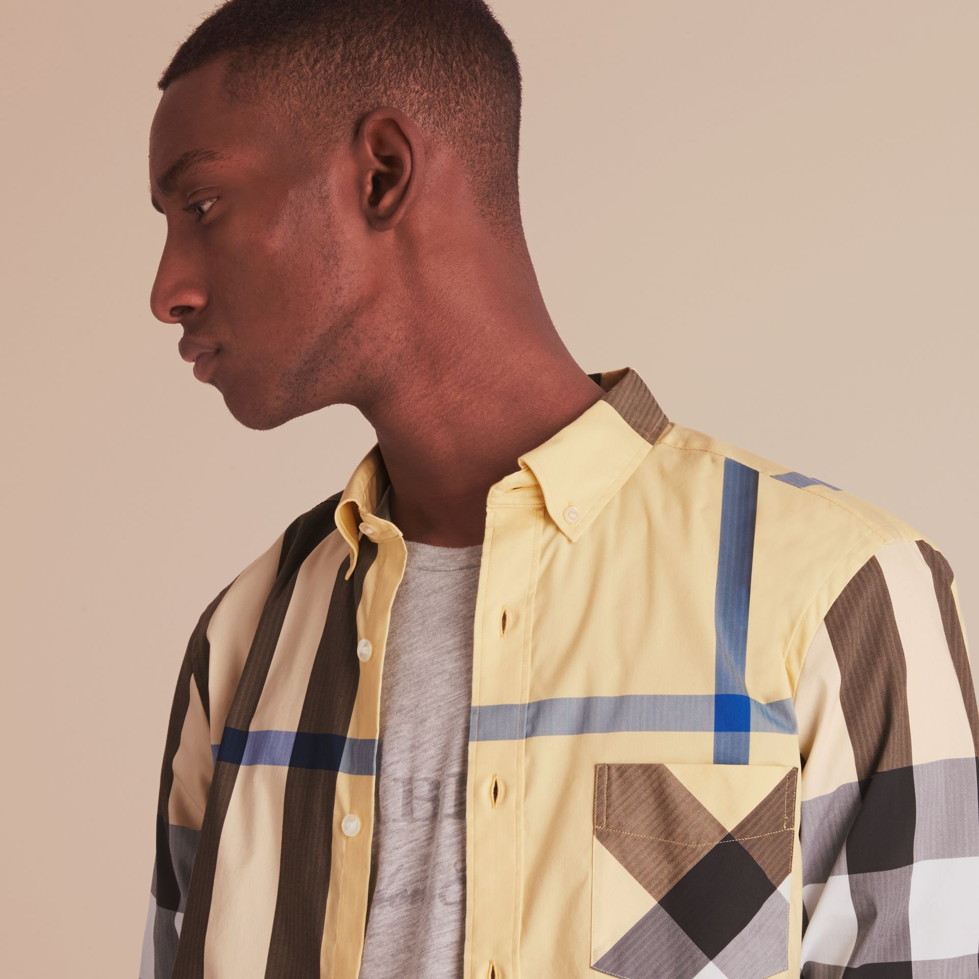 Button-down Collar Check Stretch Cotton Blend Shirt in Pale Yellow - Men | Burberry - gallery image 5