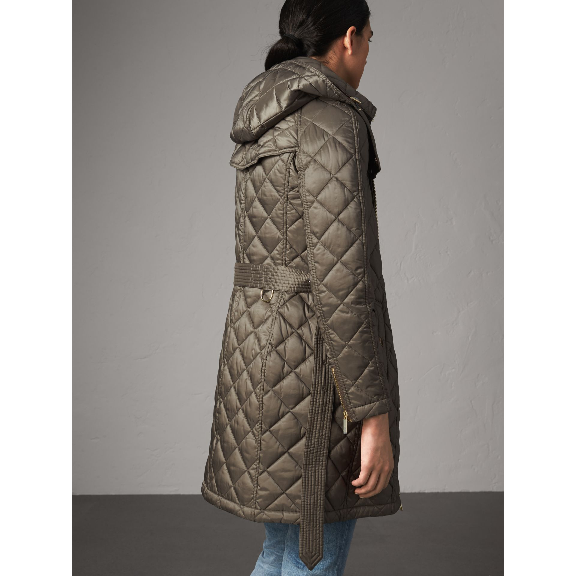 Detachable Hood Quilted Showerproof Parka in Mink Grey - Women | Burberry - gallery image 2