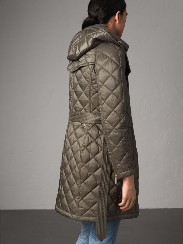 Detachable Hood Quilted Showerproof Parka in Mink Grey - Women   Burberry - cell image 2