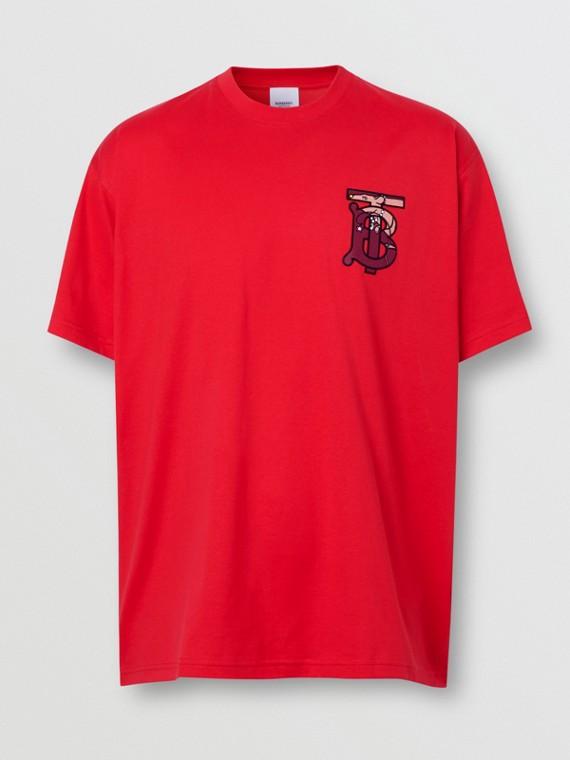 Monogram Motif Cotton Oversized T-shirt in Racing Red