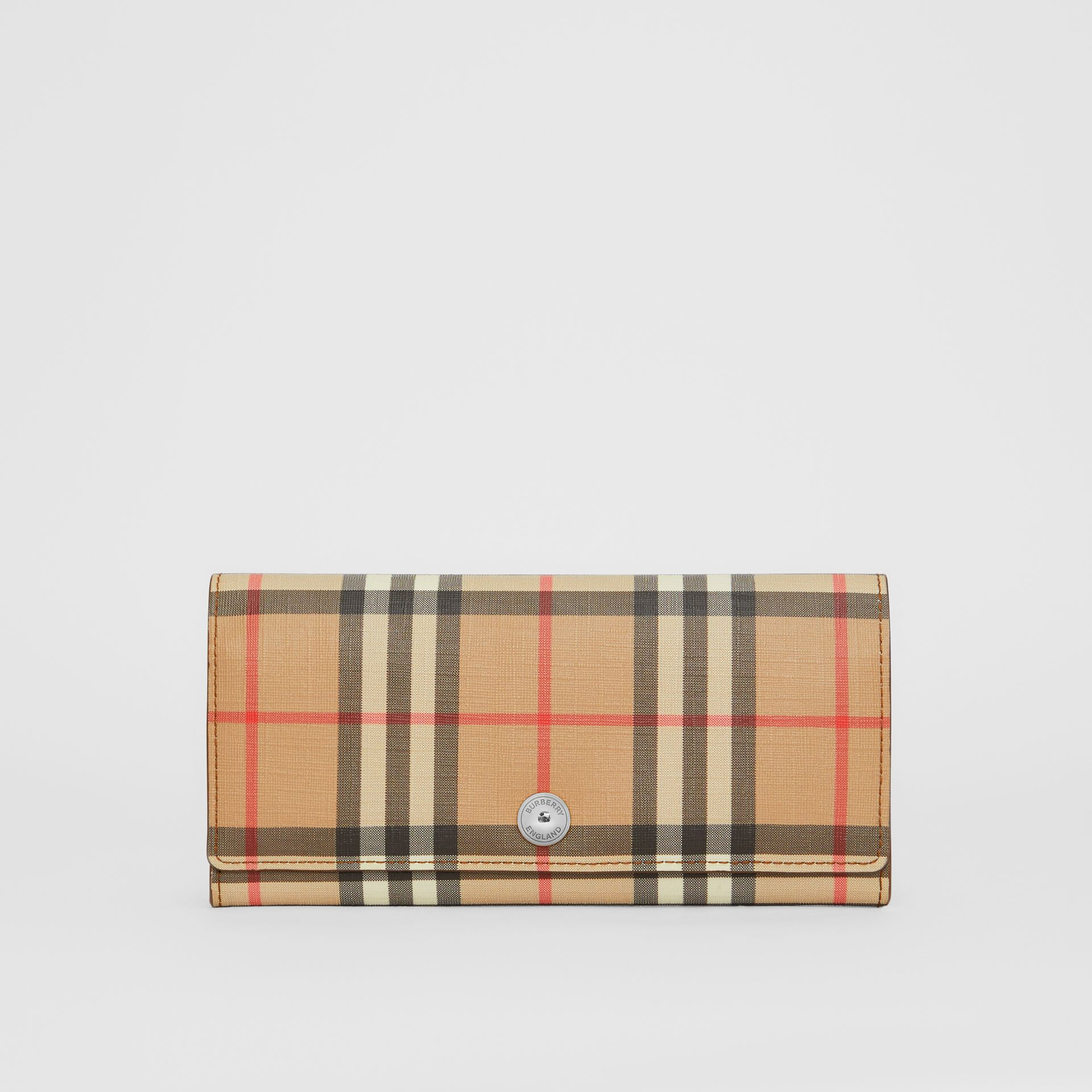 Vintage Check and Leather Continental Wallet in Malt Brown - Women | Burberry - gallery image 0