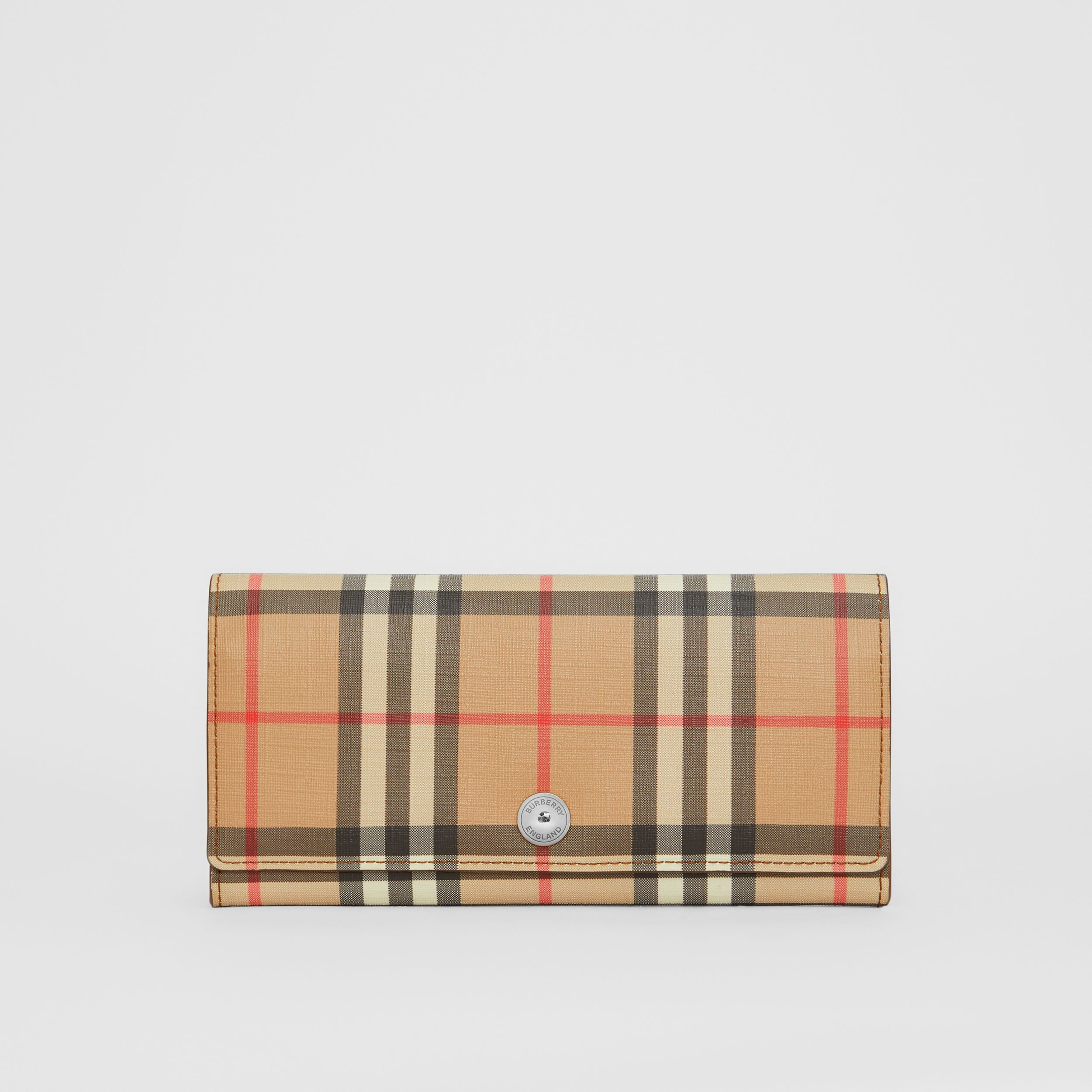 Vintage Check and Leather Continental Wallet in Malt Brown - Women | Burberry - 1