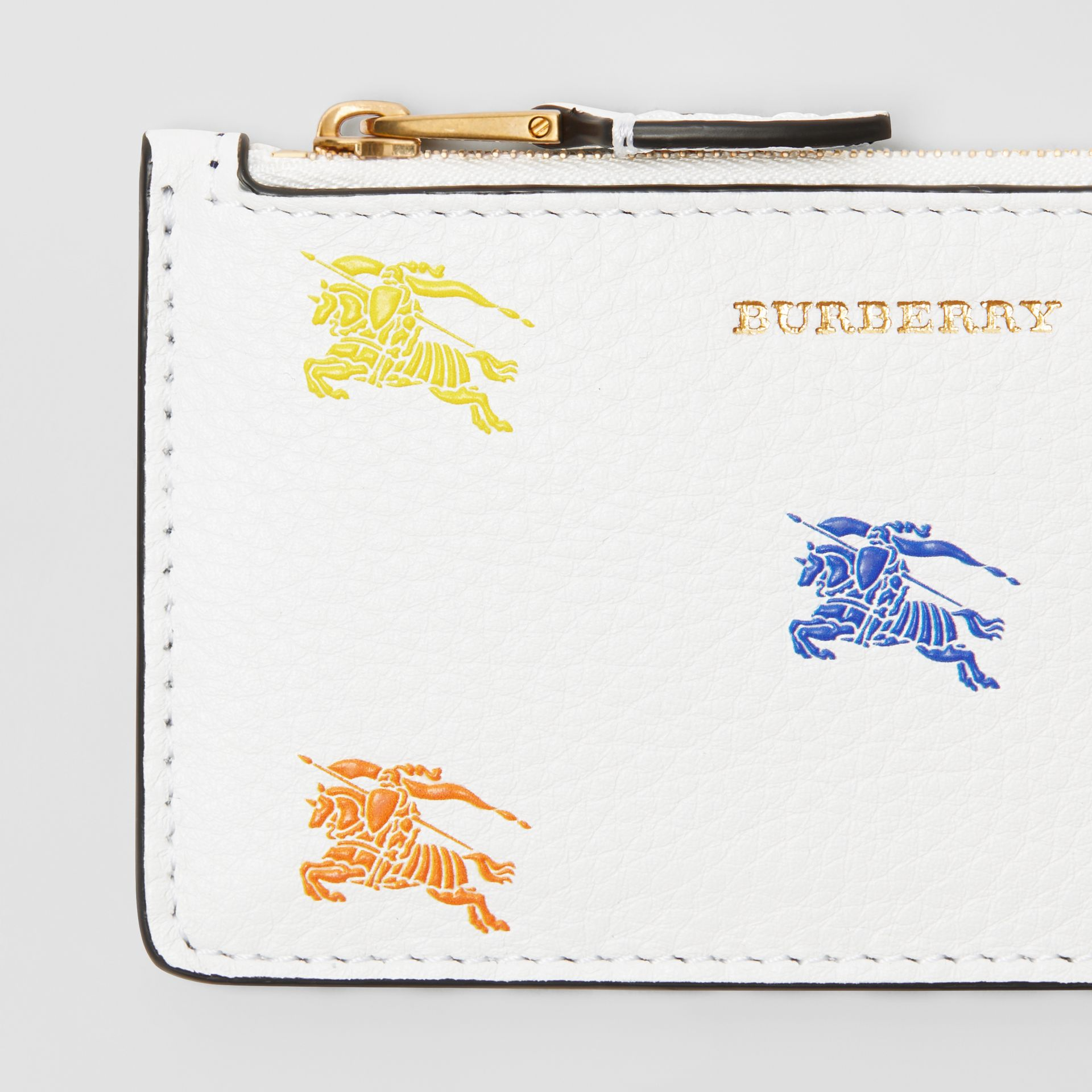 Equestrian Knight Leather Zip Card Case in Chalk White - Women | Burberry - gallery image 1