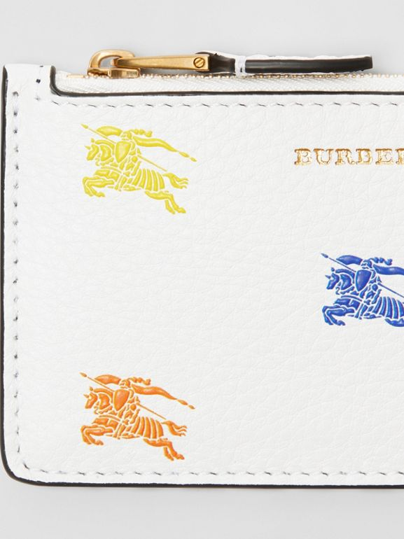 Equestrian Knight Leather Zip Card Case in Chalk White - Women | Burberry - cell image 1