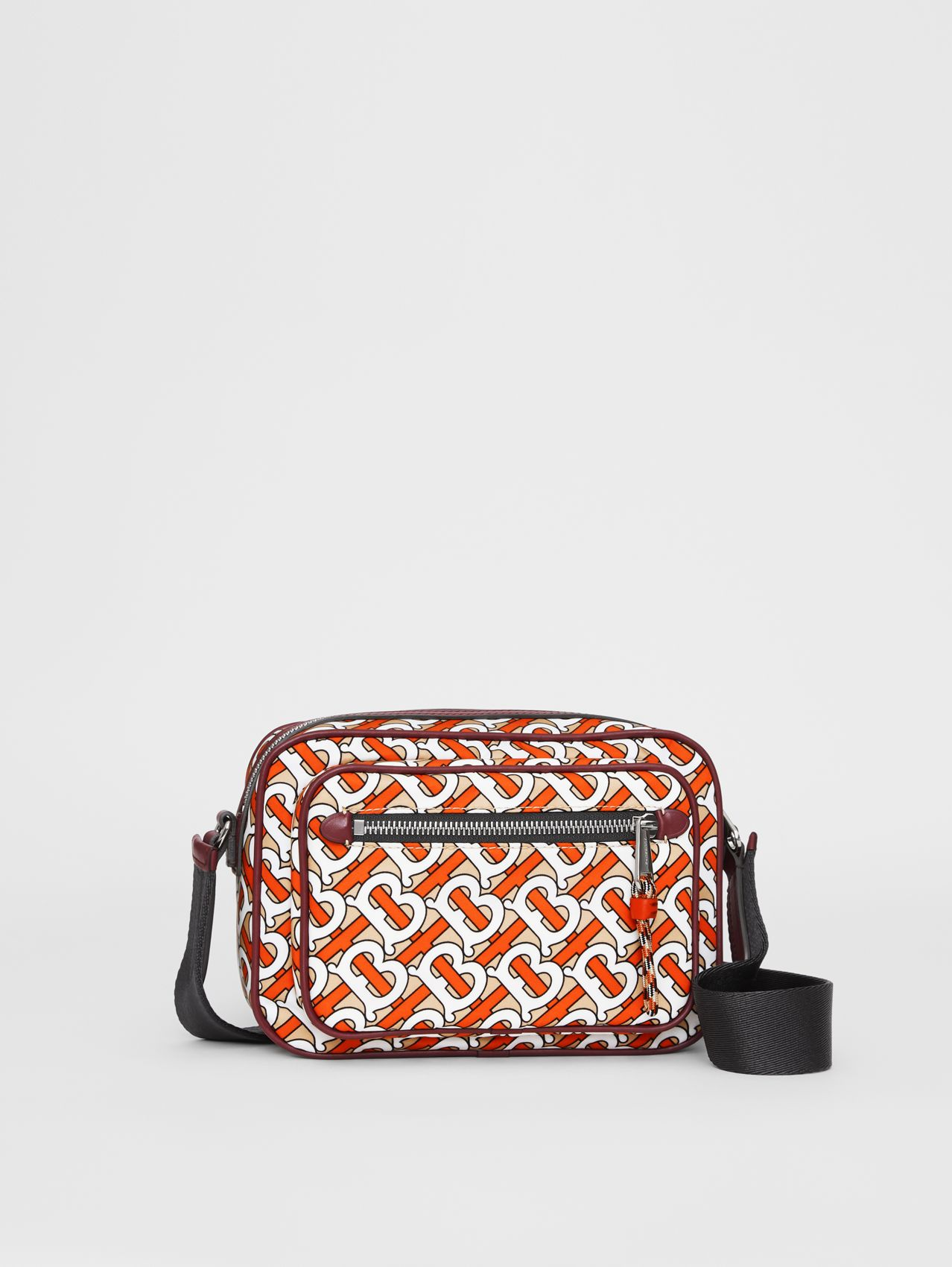 Monogram Print and Leather Crossbody Bag in Vermilion