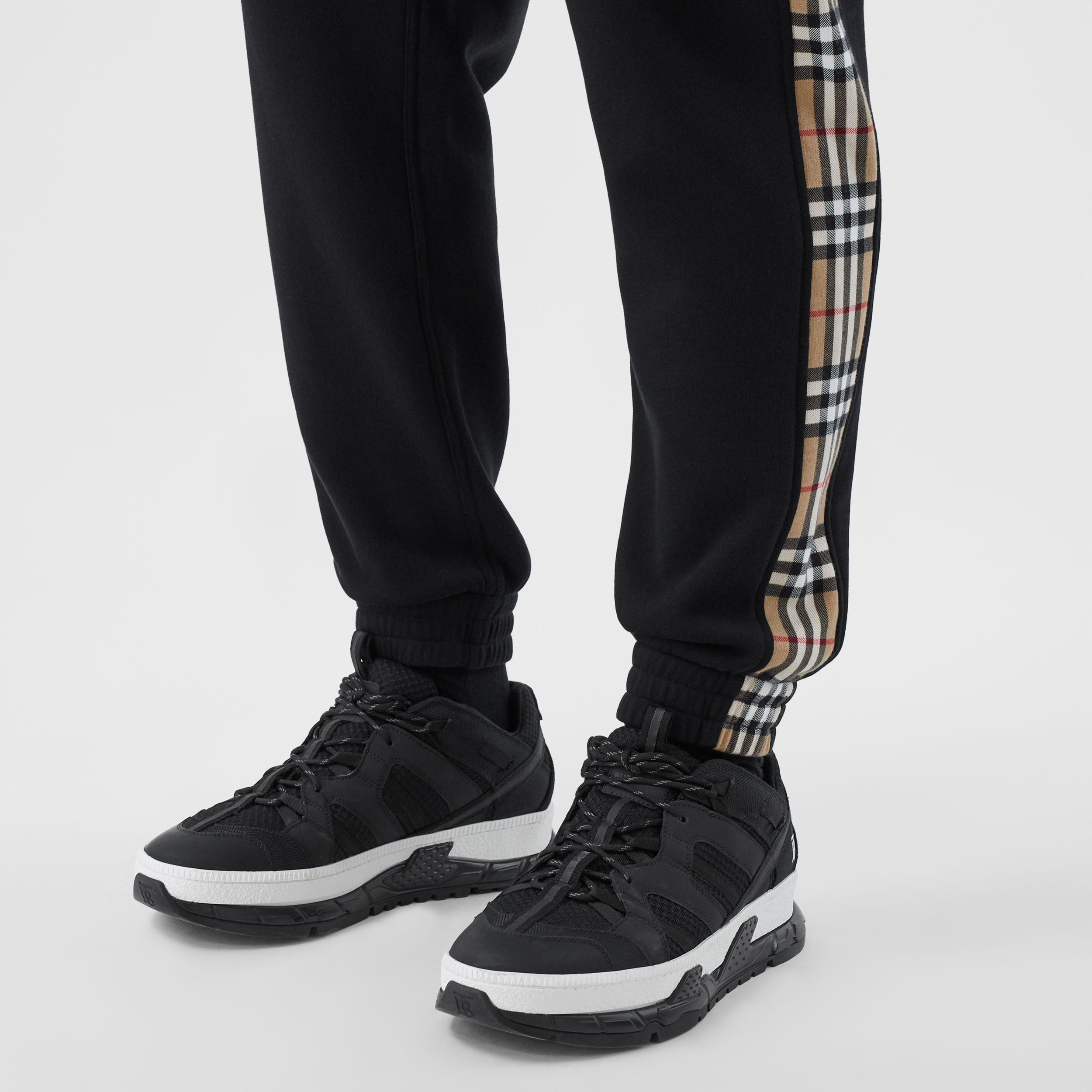 Vintage Check Panel Cotton Jogging Pants in Black - Men | Burberry Australia - 2