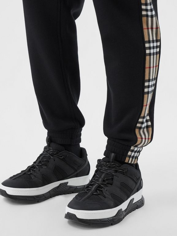 Vintage Check Panel Cotton Trackpants in Black - Men | Burberry United Kingdom - cell image 1