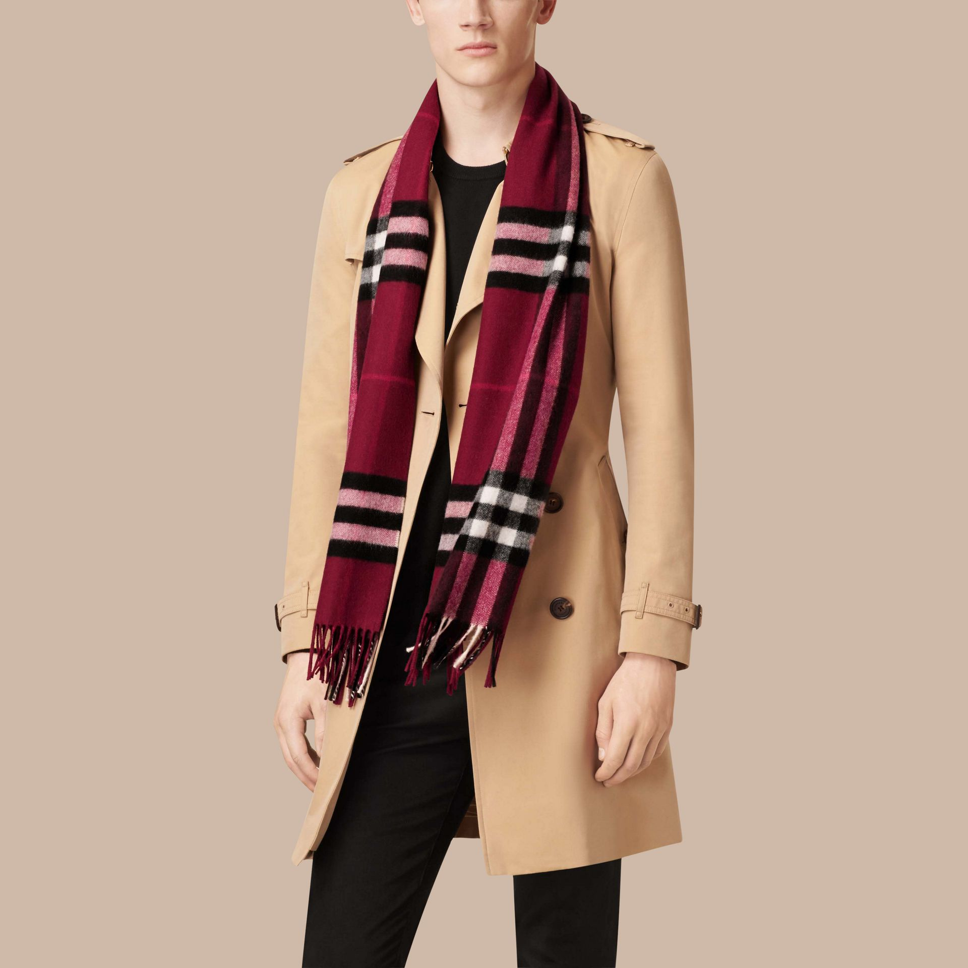 Plum check The Classic Cashmere Scarf in Check Plum - gallery image 4