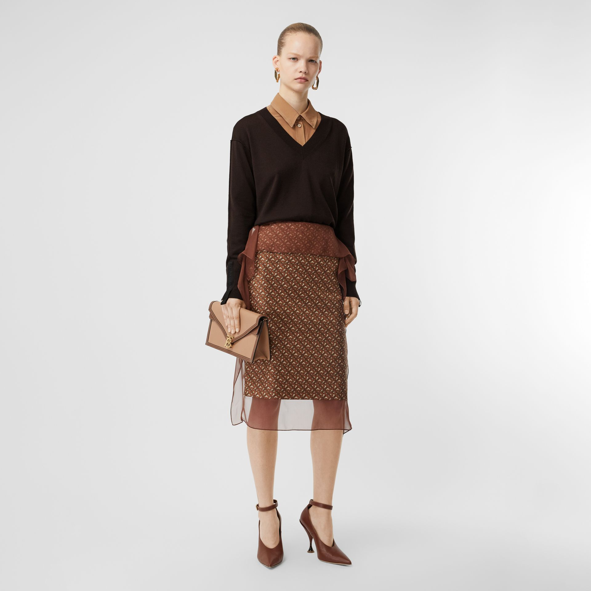 Logo Detail Merino Wool Silk Sweater in Dark Mocha - Women | Burberry - gallery image 4