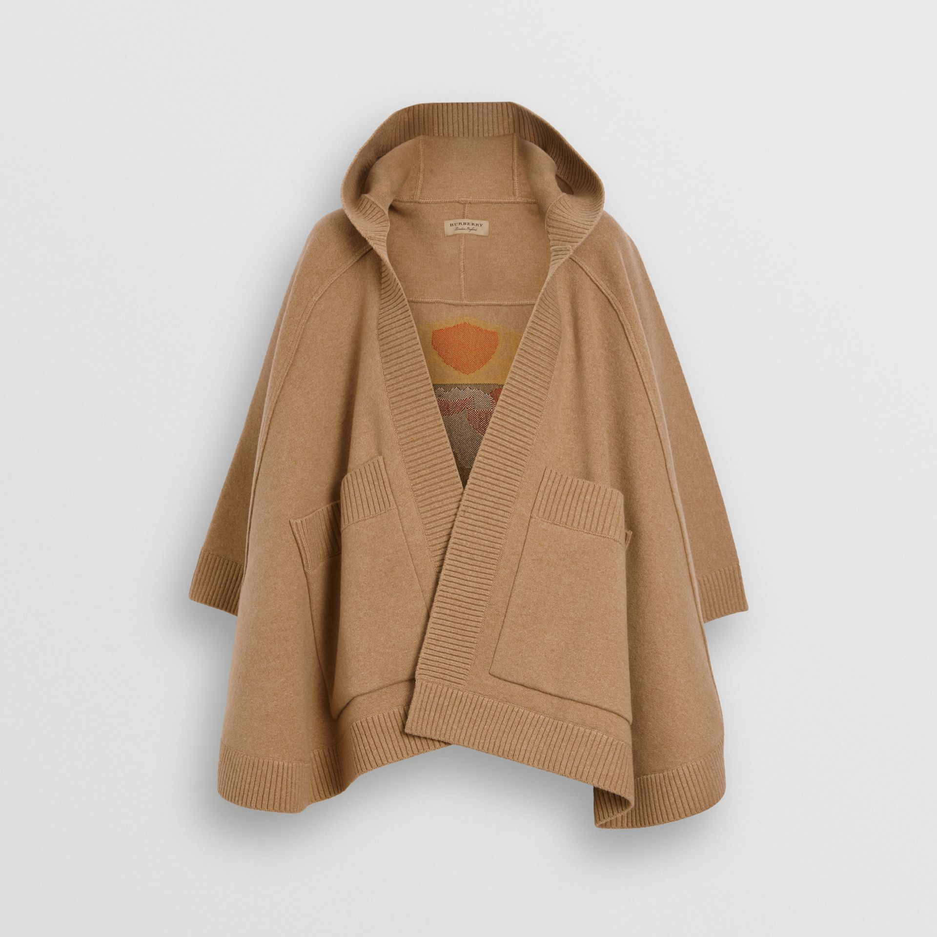Crest Wool Blend Jacquard Hooded Cape in Rusty Camel - Women | Burberry - gallery image 3
