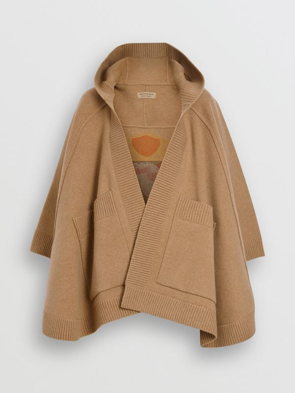 Crest Wool Blend Jacquard Hooded Cape in Rusty Camel - Women | Burberry - cell image 3