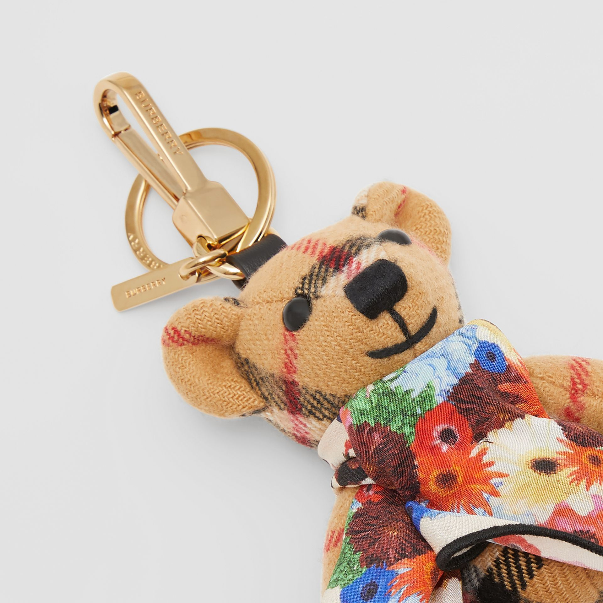 Thomas Bear Charm with Floral Silk Scarf in Antique Yellow - Women | Burberry United Kingdom - gallery image 1