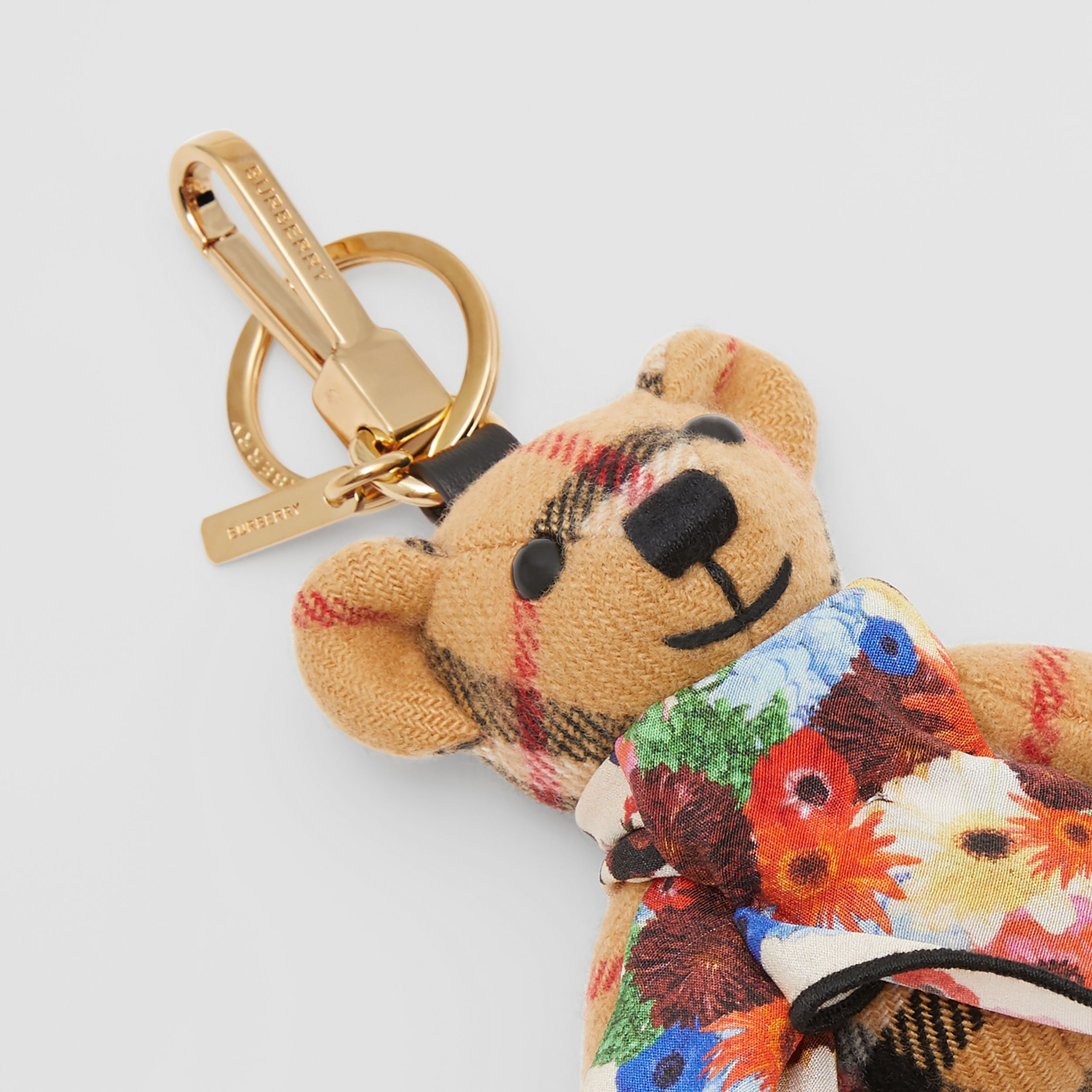 Thomas Bear Charm with Floral Silk Scarf in Antique Yellow - Women | Burberry - 2