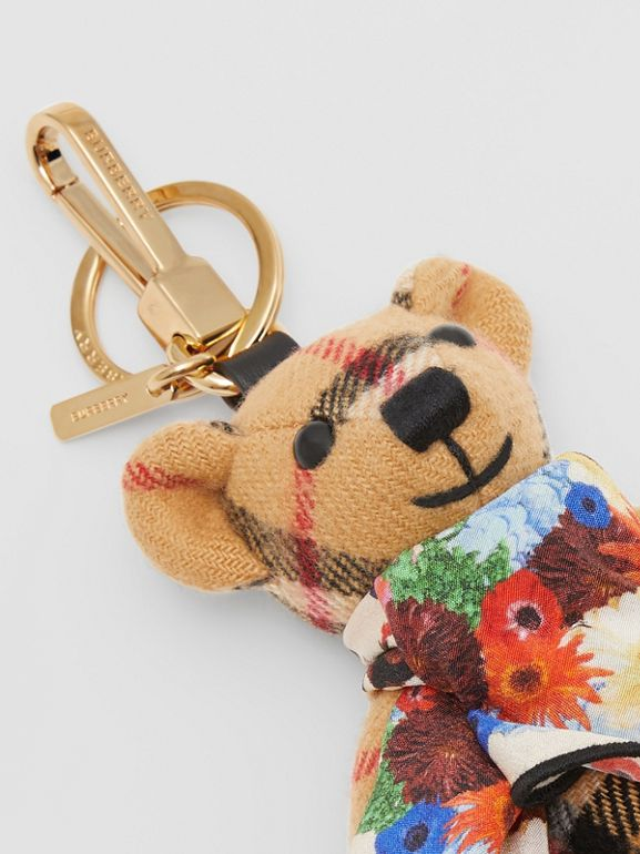 Thomas Bear Charm with Floral Silk Scarf in Antique Yellow - Women | Burberry United Kingdom - cell image 1