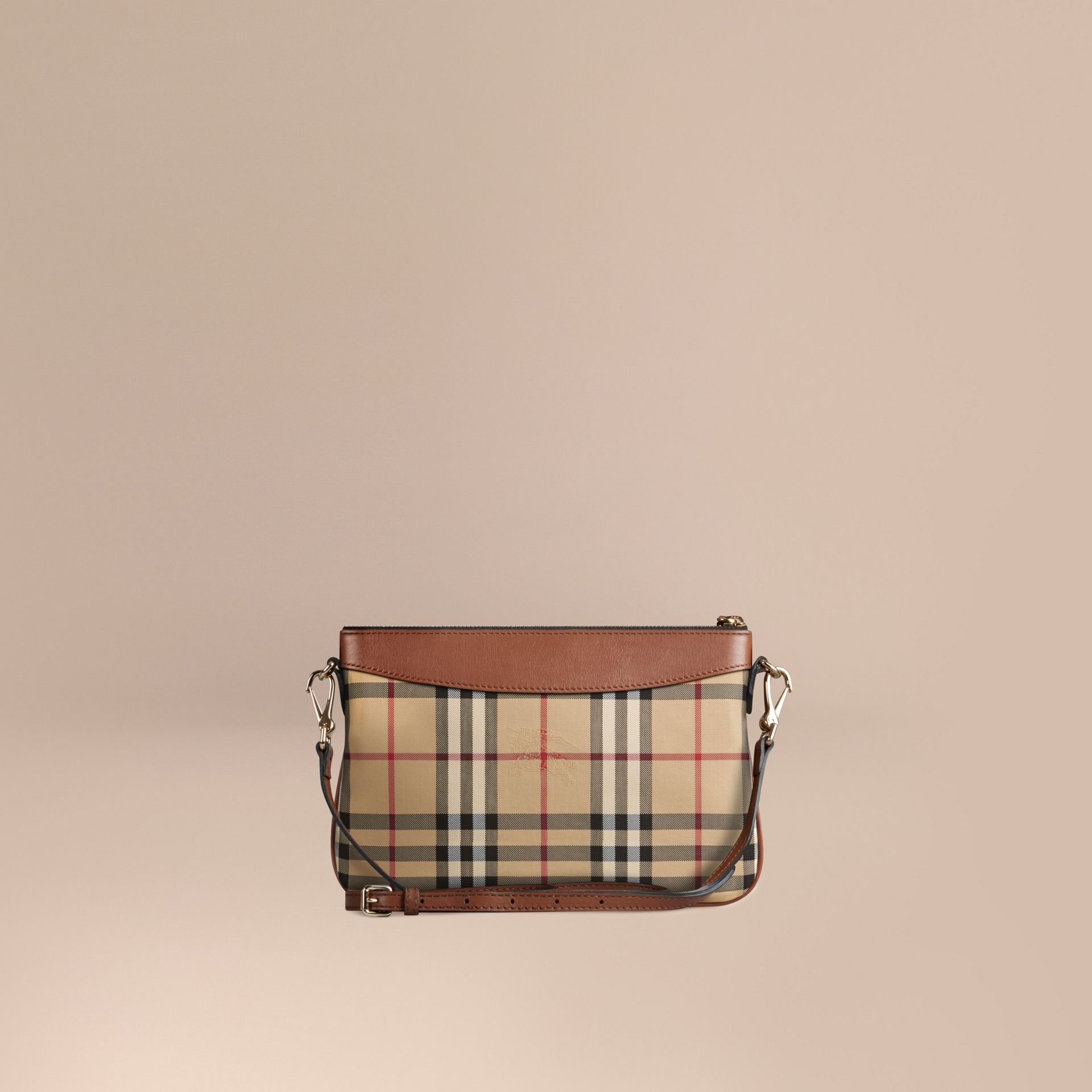 Tan Horseferry Check and Leather Clutch Bag Tan - gallery image 5