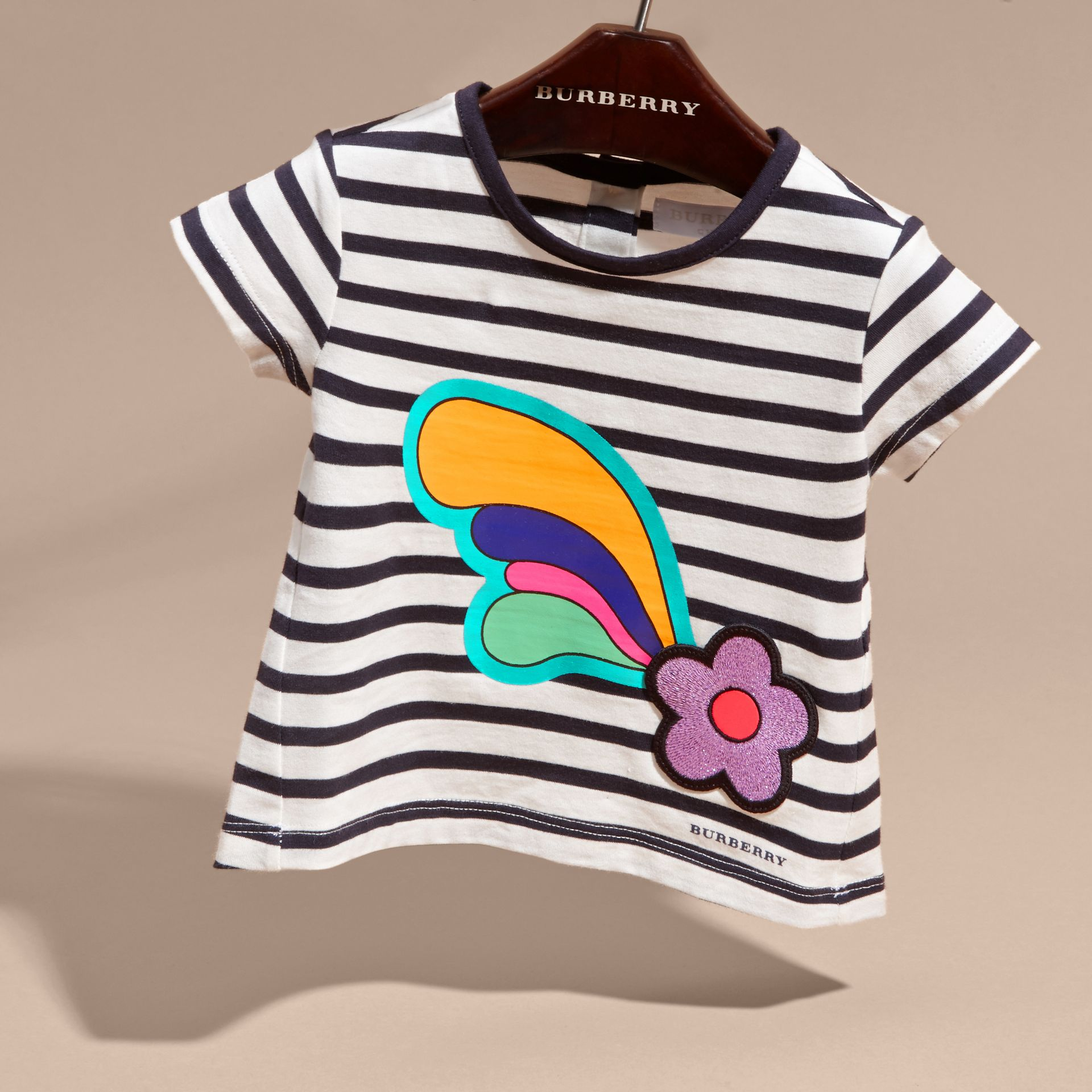 Navy/white Striped Cotton T-shirt with Print and Flower Appliqué - gallery image 3