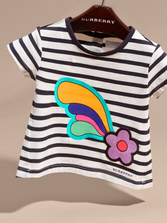 Navy/white Striped Cotton T-shirt with Print and Flower Appliqué - cell image 2