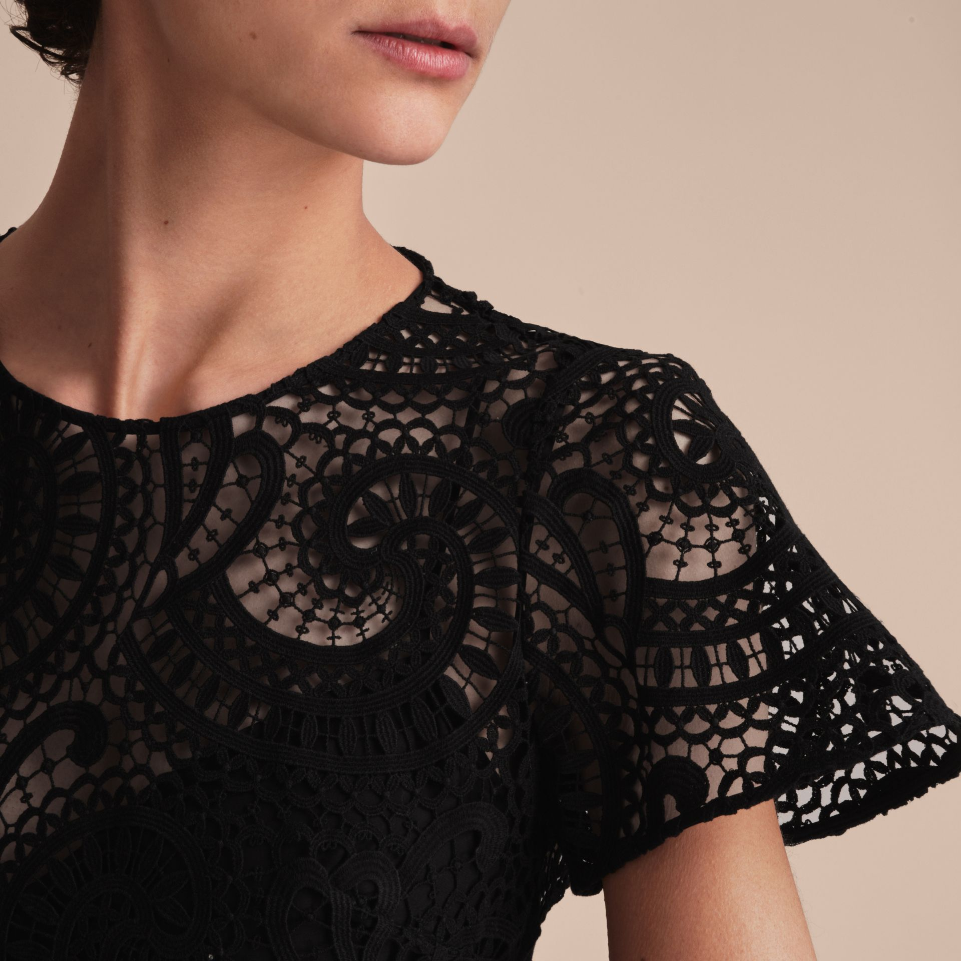 Flare-sleeve Macramé Lace Shift Dress - Women | Burberry - gallery image 5