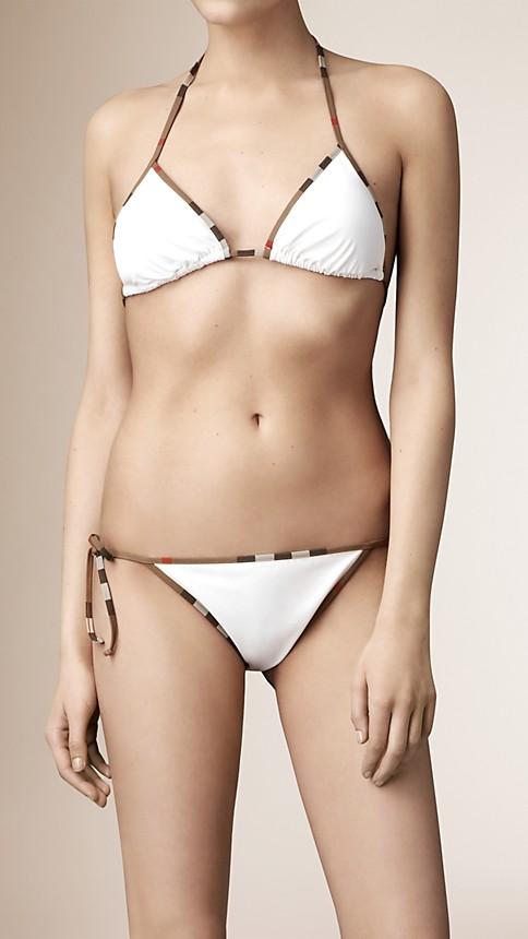 White Check Trim Triangle Bikini - Image 1