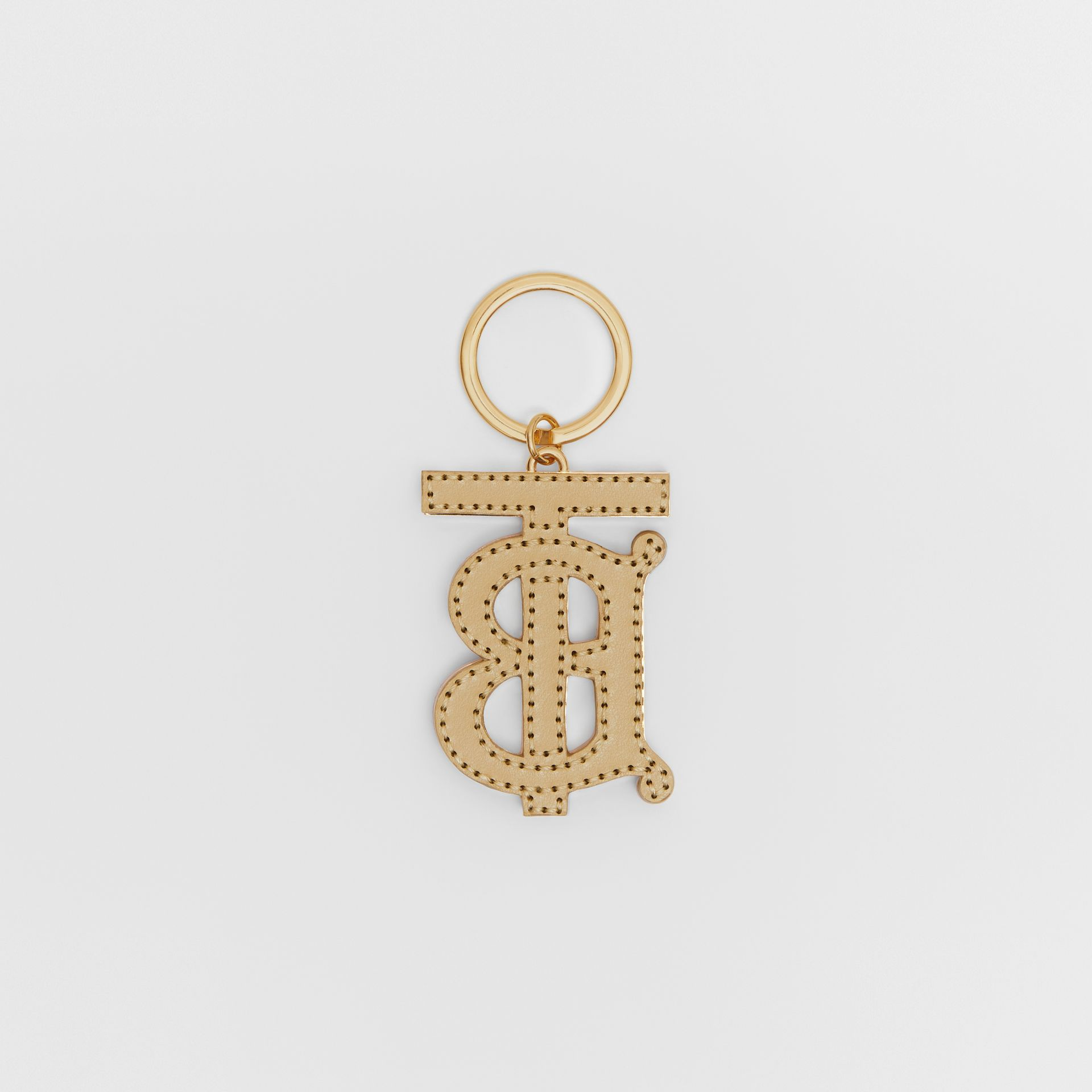 Monogram Motif Two-tone Leather Key Charm in Pink/honey | Burberry - gallery image 2
