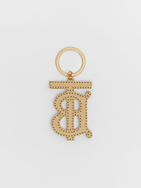 Monogram Motif Two-tone Leather Key Charm in Pink/honey | Burberry United States - cell image 2