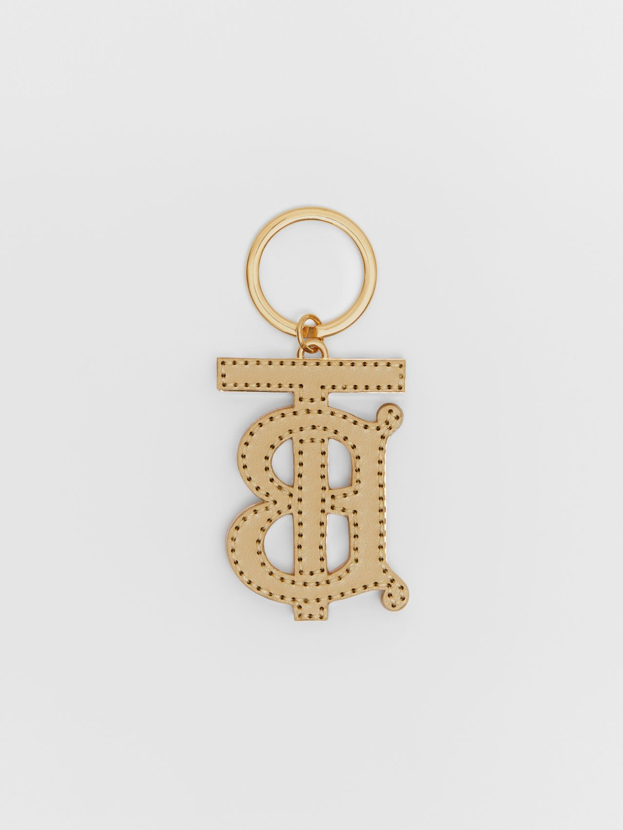 Monogram Motif Two-tone Leather Key Charm in Pink / Honey