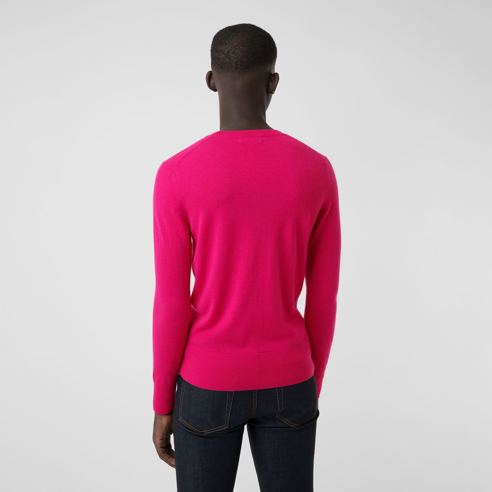 Crew Neck Cashmere Sweater in Bright Pink - Men | Burberry Singapore - gallery image 2