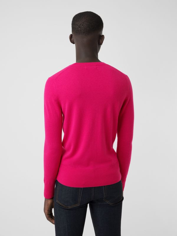 Crew Neck Cashmere Sweater in Bright Pink - Men | Burberry Singapore - cell image 2