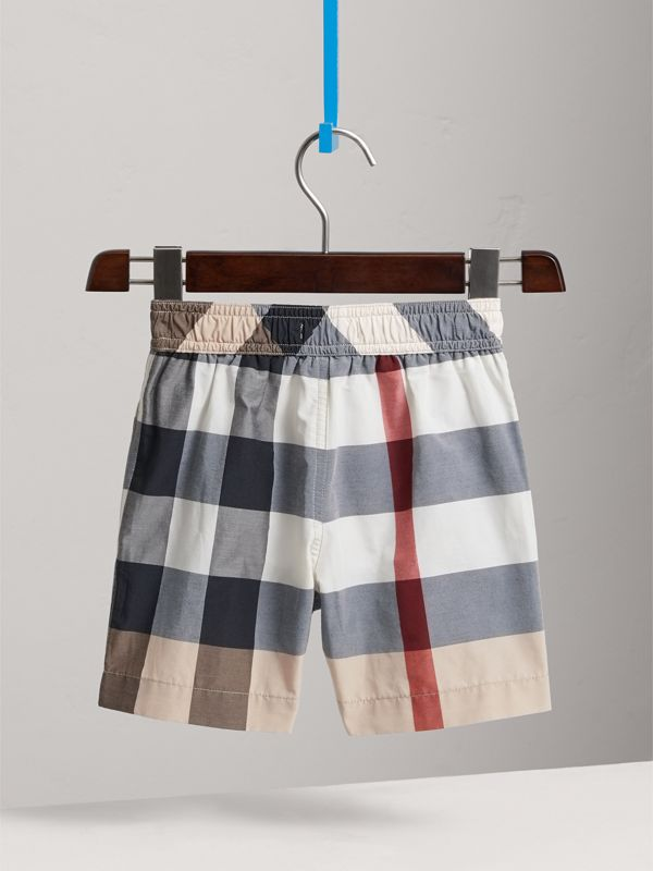 Check Technical Cotton Swim Shorts in New Classic - Boy | Burberry - cell image 3