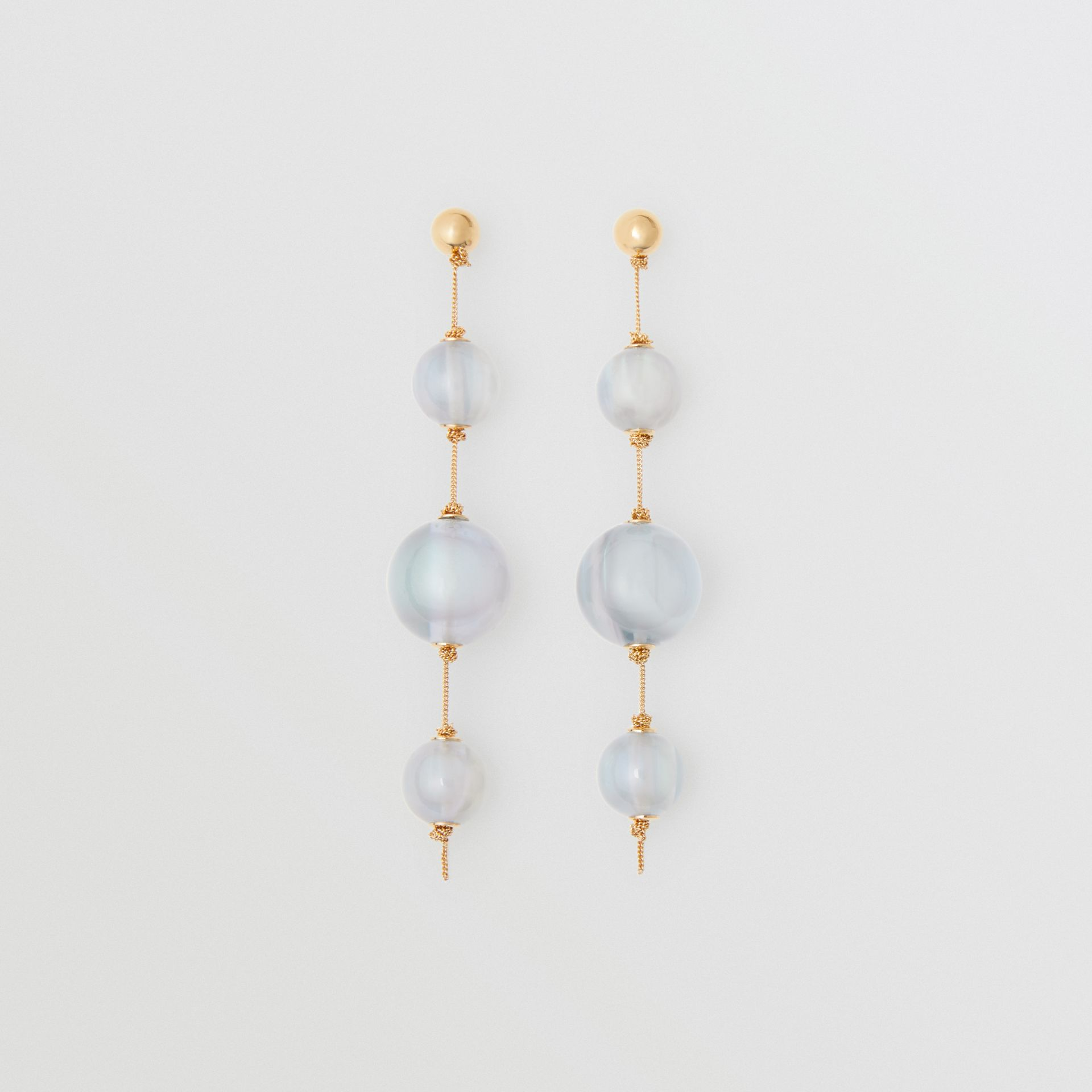 Marbled Resin Gold-plated Drop Earrings in Light Gold/pale Opal - Women | Burberry Australia - gallery image 0