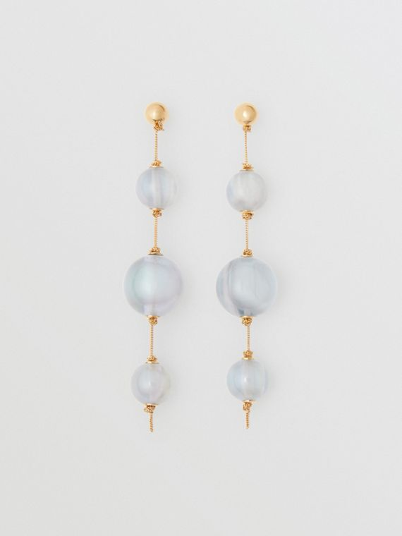 Marbled Resin Gold-plated Drop Earrings in Light Gold/pale Opal