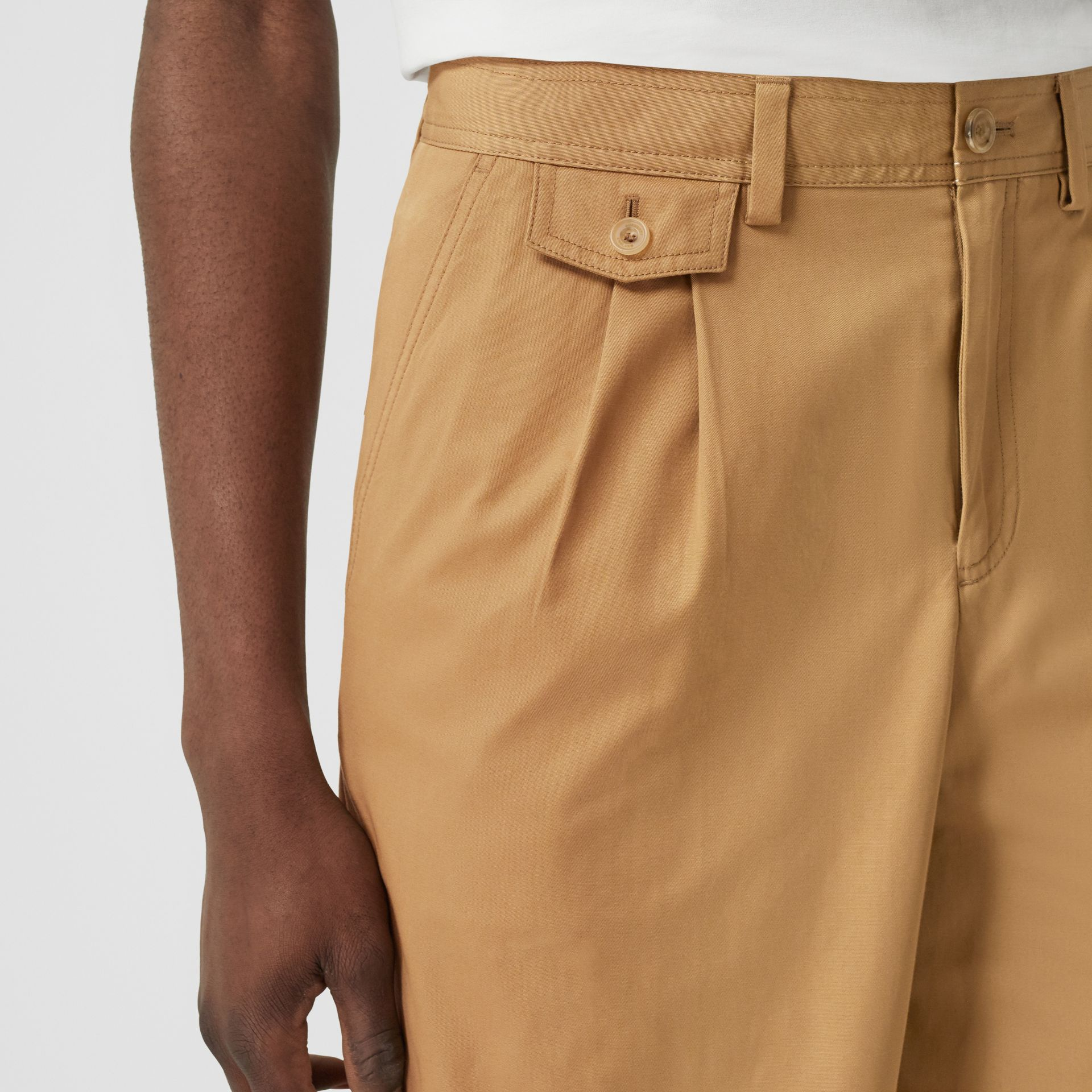 Icon Stripe Detail Cotton Twill Tailored Shorts in Camel - Men | Burberry United States - gallery image 1